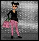 Shopping. Illustration of a Hispanic girly chic shopper stock illustration