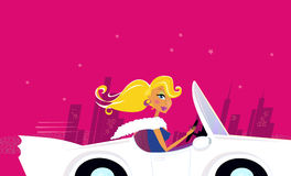 Girly Chick Driver in a Convertible Car Stock Photo