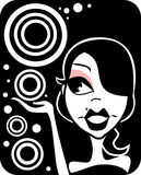 Girly Design. Illustration of a girly design with circles in black and white stock illustration