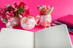Girly Desk table or Office settings. Back to school concept. Open Notebook,unicorn mugs, llama squishy, and flamingo mug with colorful gel pens and stationery on royalty free stock photography
