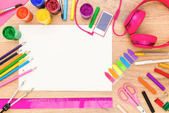 Girly desktop with drawing tools Stock Photography