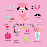 Girly Element-Set Lizenzfreie Stockfotos
