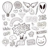 Girly elements with alien, speech bubbles, cassette. Line icon vector set. Cartoon black and white stickers. Girly elements with alien, speech bubbles, cassette Stock Photography