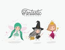 Girly fantastic character set of princess fairy and witch on white background. Vector illustration Stock Photography