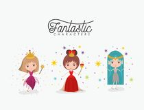 Girly fantastic character set of queen fairy and elf princess on white background. Vector illustration Stock Photos