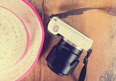 Girly Farmer and white camera for chick travel summer vacation background. Stock Images