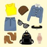 Girly Fashion Style Items Illustration Design Set. Girly Fashion Style Items Vector Illustration Graphic Design Set Royalty Free Stock Photos