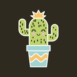 Girly icon image. Happy cactus girly icon image vector illustration design Royalty Free Stock Photography