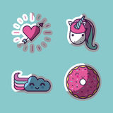 Girly icon image. Unicorn and other girly icons image vector illustration design Royalty Free Stock Photo
