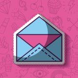 Girly icon over background image. Open envelope girly icon over background image vector illustration design Stock Image