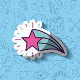 Girly icon over background image. Star girly icon over background image vector illustration design Stock Images