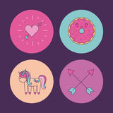 Girly icon over background image Stock Images