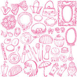 Girly illustrations. Set of girly illustrations. beauty and fashion Royalty Free Stock Photography