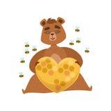 Girly Karikatur-Braunbär-Charakter, der Herz geformten Bienenstock umgeben durch Bienen-Illustration hält Stockbilder