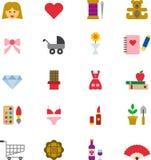 GIRLY kleurde vlakke pictogrammen Stock Afbeelding