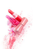 Girly make up and fashion. Girly make up, cosmetic and fashion background. Pink nail polish, facial powder and blossom on white background. Luxurious feminine royalty free stock photos
