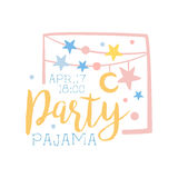 Girly Pajama Party Invitation Card Template With Garlands Inviting Kids For The Slumber Pyjama Overnight Sleepover Royalty Free Stock Images