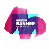 Girly pink/blue lipstick smear element for fashion media banners Stock Photography