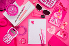 Girly pink desktop and stationery Royalty Free Stock Image