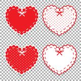 Cute lacy hearts set isolated on transparent background. Girly scrapbook design elements. Vector Valentines day or love wedding stickers, clip art, details for Royalty Free Stock Images