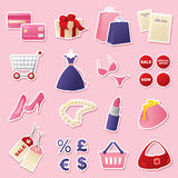 Girly Shopping Cutouts Stock Images