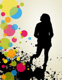 Girly silhouette and circles Royalty Free Stock Images
