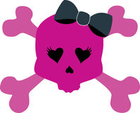 Girly Skull with bow Stock Photography