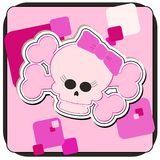 Girly Skull & Crossbones. Cartoon illustration of a Girly Skull and Crossbones Royalty Free Stock Images