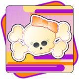 Girly Skull & Crossbones. Cartoon illustration of a Girly Skull and Crossbones Royalty Free Stock Image