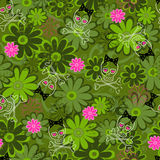 Girly Skulls Camo Seamless Repeat Pattern. Girly Skulls and Flowers Camo Seamless Repeat Pattern Vector Illustration stock illustration