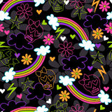Girly Skulls Rainbow Seamless Repeat Pattern stock illustration