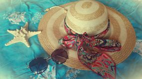 Girly stuff for beach and relax stock photo