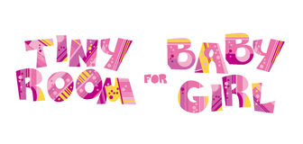 Girly style pink color birthday lettering Royalty Free Stock Image