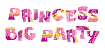 Girly style pink color birthday lettering Stock Photos