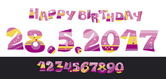 Girly style pink color birthday lettering Royalty Free Stock Photos