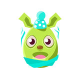 Girly Symbol Emoji religiösen Feiertags Osterei-geformtes grünes Ostern Bunny Schievering With Cold Colorful Stockbild
