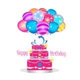girly szczęśliwy urodzinowy tort ilustracji