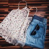 Girly things. Shorts and shirt Stock Images