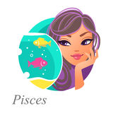 Girly zodiac  pisces. Beautiful woman as Pisces zodiac sign. Astrological symbol Stock Photography