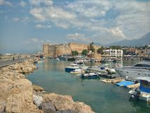 Girne, Cyprus June 2017, View of the castle and harbour Stock Photography