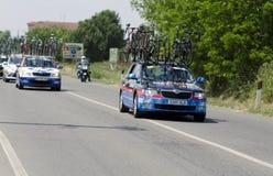 Giro δ Ιταλία 2014, suport αυτοκίνητο της ομάδας garmin-αιχμηρό Στοκ εικόνα με δικαίωμα ελεύθερης χρήσης