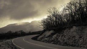 Giro brusco della strada della montagna fra il legno nudo di autunno immagini stock