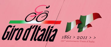Giro d'Italia 2011. Logo of the tour of Italy which is reminiscent of the 150th year of the unity of the country royalty free stock photography