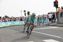 Giro d'Italia - ASTANA team. Stage 4th of Giro di Italia - Verona ITALY - TEAM TIME TRIAL - 9th may 2012 royalty free stock photo