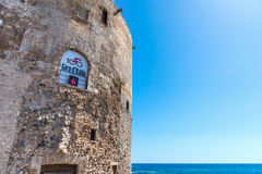 Giro d`Italia banner on a historic sighting tower Royalty Free Stock Image