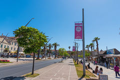 Giro d`Italia banners in the seafront Royalty Free Stock Photography