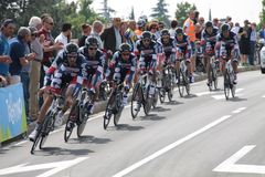 Giro d'Italia - BELISOL LOTTO team. Stage 4th of Giro di Italia - Verona ITALY - TEAM TIME TRIAL - 9th may 2012 stock images