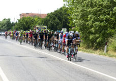 Giro d'Italia 2014. Bellusco, Italy, Sunday, May 25, 2014: in the streets of the province of Monza and Brianza passing the caravan during the 15th stage of the stock images