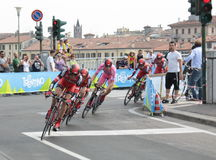 Giro d'Italia - BMC RACING team. Stage 4th of Giro di Italia - Verona ITALY - TEAM TIME TRIAL - 9th may 2012 stock images