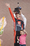 Giro d'Italia: David Arroyo second on the podium Royalty Free Stock Photography